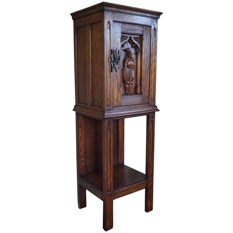 Gothic Revival Oak Dry Bar / Hallway Cabinet with Carved Knight & Cast Iron Lock For Sale