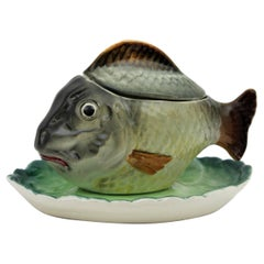 Spanish Glazed Ceramic Fish Shaped Sauce Tureen by Hispania CH Lladró