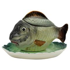 Spanish Hispania Ch Lladró Manises Glazed Ceramic Fish Figurine Sauce Tureen
