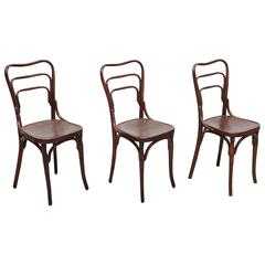 Set of Three J & J. Khon Chairs, circa 1900