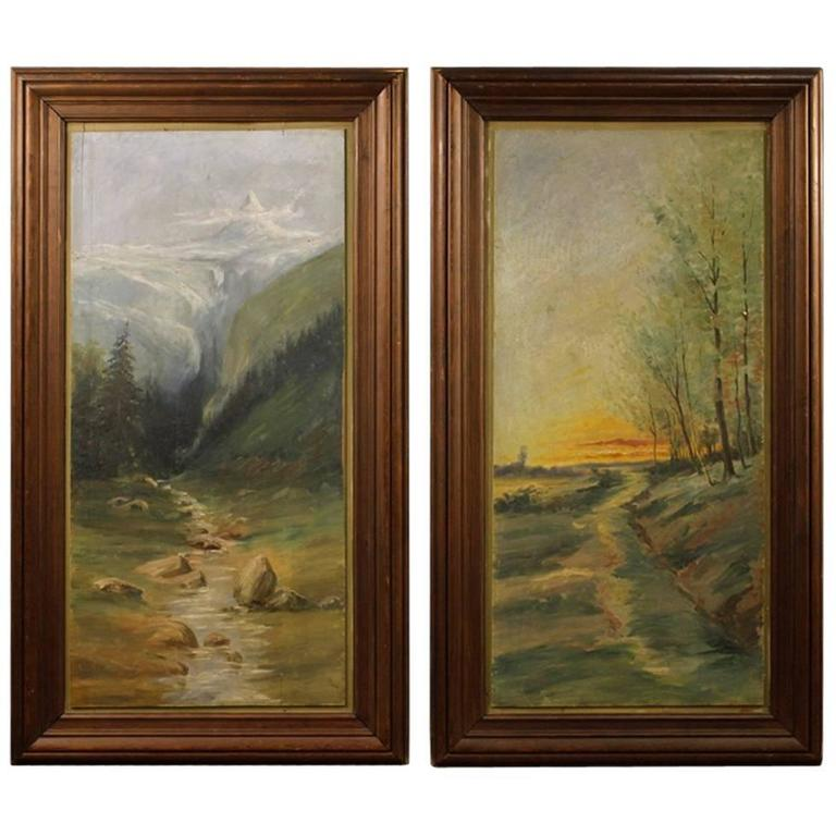 20th Century Pair of French Landscapes Paintings Oil on Panel