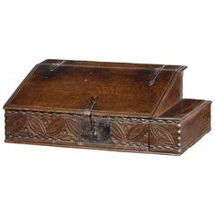17th Century Oak Box with Original Quill Drawer