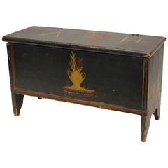 Dark Blue and Polychrome-Decorated Pine Miniature Blanket Chest