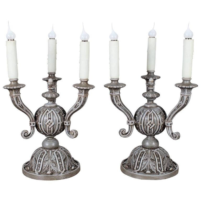 Pair of Antique French Painted Three-Arm Lamps, circa 1890