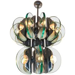 Chandelier Metal and Glass, Italy, 1970s
