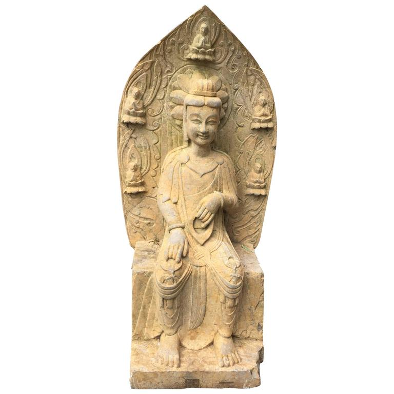 Pretty chinese guanyin old stone sculpture with attendants