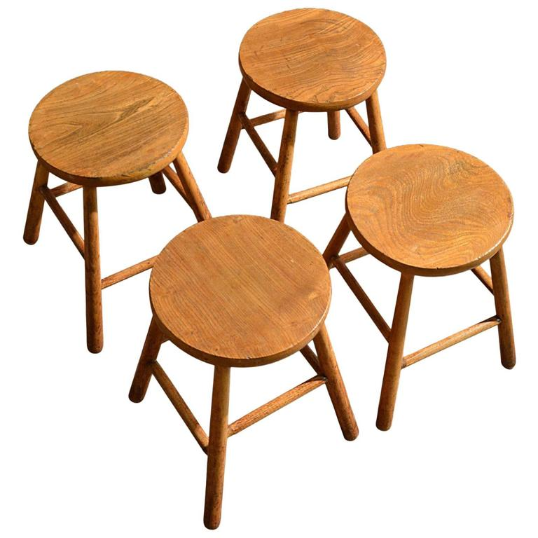 French Kitchen Stools: Antique Set Of Four Stools, Elm And Ash, French Country