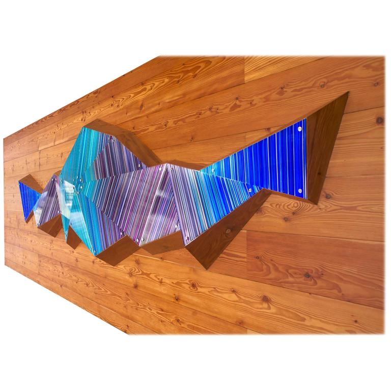 3D Glass Stripped Sculpture Wall Installation in Blue and Purple Lighting