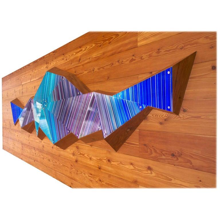 Purple Blue Scheme 3D Faceted Glass Barcode Sculpture Wall Light Installation For Sale