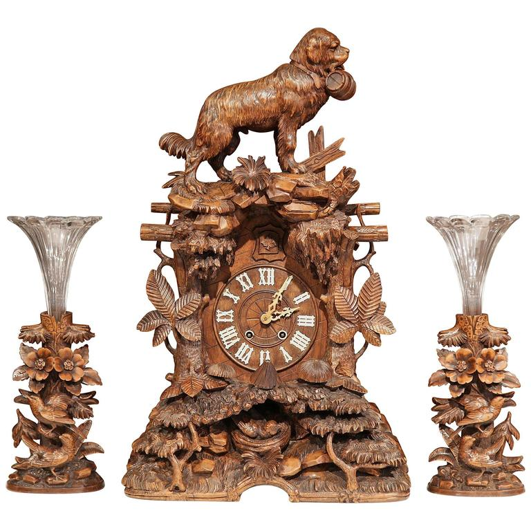 Important 19th Century Black Forest Carved Walnut Three-Piece Cuckoo Clock Set