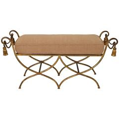 Hollywood Regency, Florentine, Italian Gold Leaf, Double Bench with Cushion