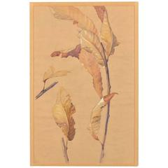 "Vintage French ""Autumn"" an Original Watercolor on Paper, circa 1940"