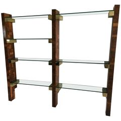 Paul Evans Wall-Mounted Burl Wood City Scape Shelving Unit