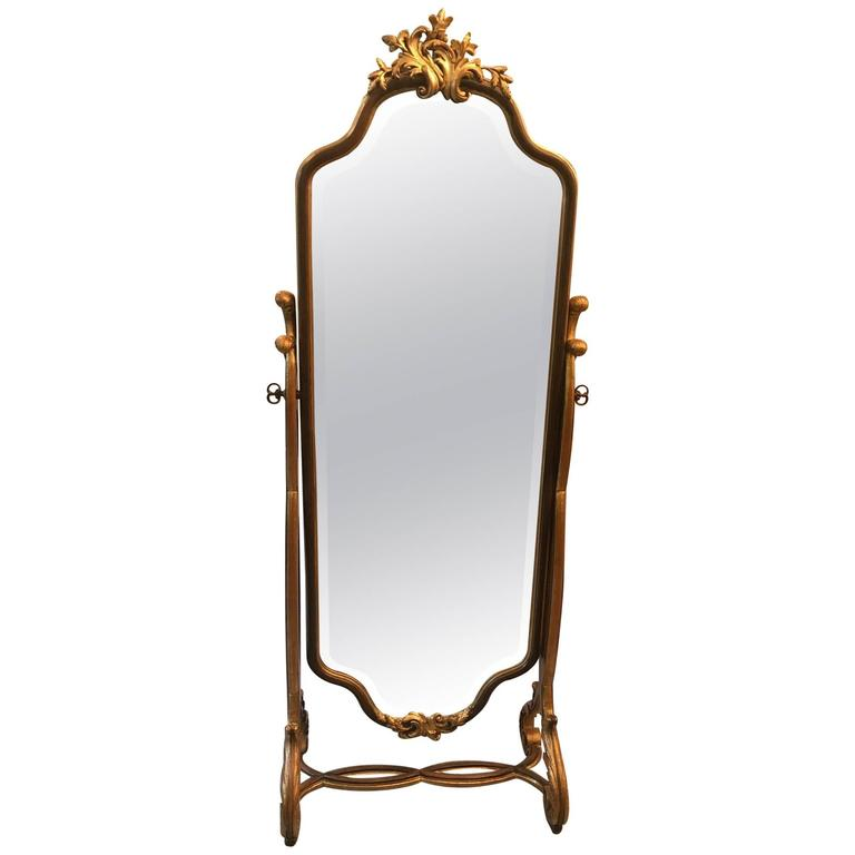 Hand-Carved Walnut Parcel-Gilt Cheval Mirror