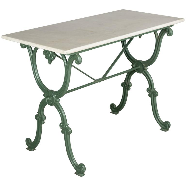 French cast iron marble top bistro table at 1stdibs for Cast iron table base marble top