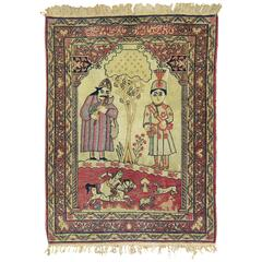 Pictorial Antique Lavar Kerman Rug