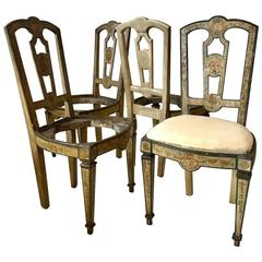 Four 18th Century Italian Painted Side Chairs