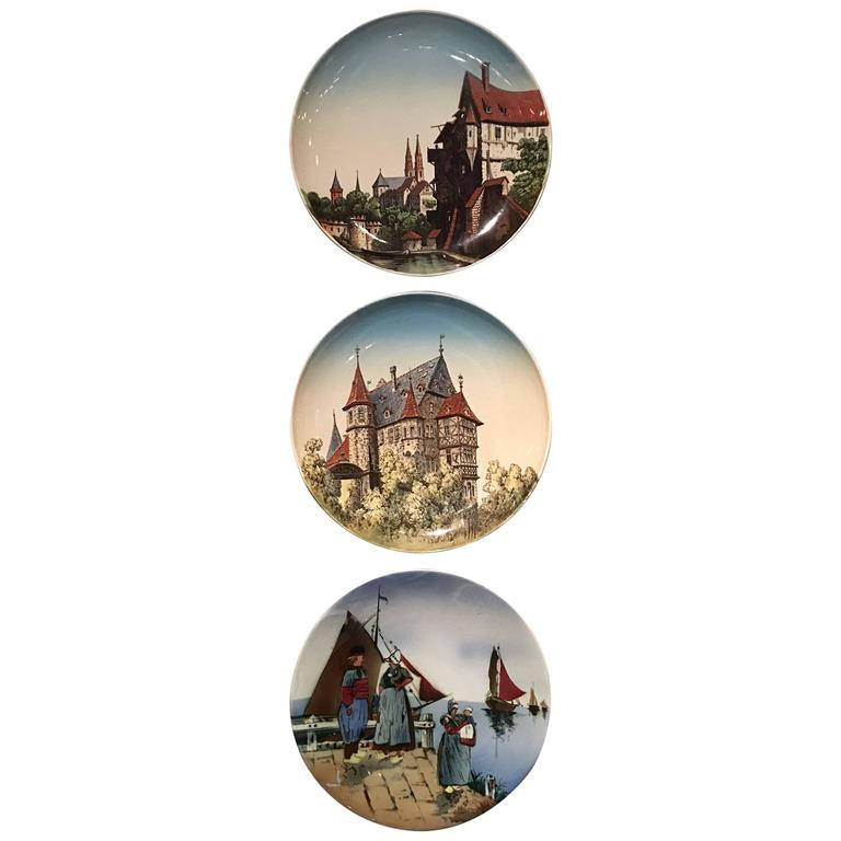 Group of Three Villeroy & Boch Plates with Dutch Scenes, 20th Century