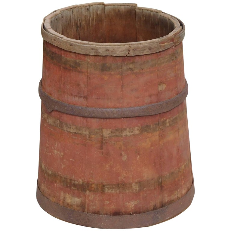 Large Master Maple Sap Collecting Barrel in Old Red Wash, Vermont, circa 1880 For Sale