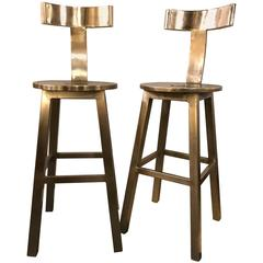 Set of Six-Seat Deco Style Steel Bar Stool