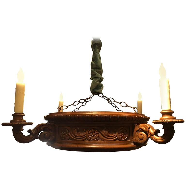 Italian Carved Wood Four-Light Chandelier with a Fluted Corona, 19th Century