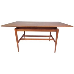 Stylish Danish Modern Floating Top Teak Dining Table