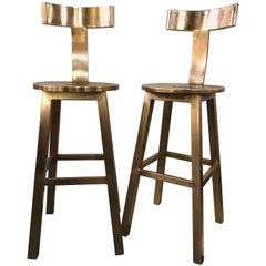A Pair Of  Deco Style Steel Bar Stool