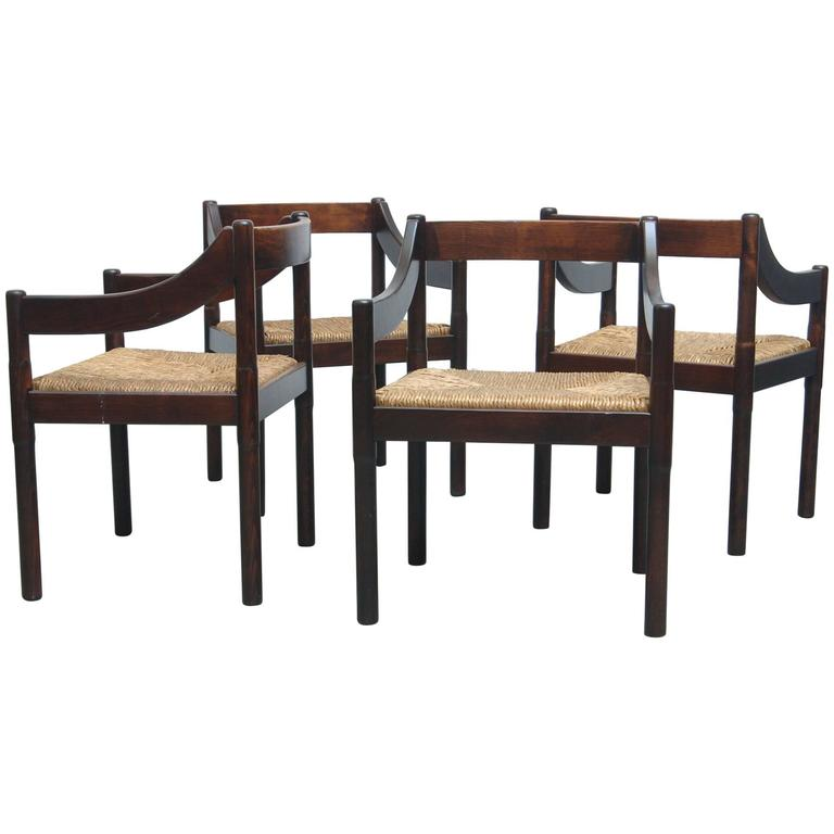 "Set of Four Vico Magistretti for Cassina ""Carimate"" Chairs For Sale"