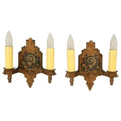 Pair of Double Polychrome Sconces with Floral Motif