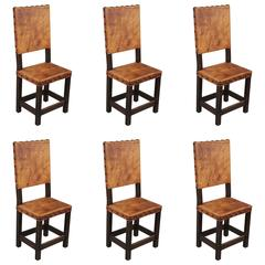 Set of Six Tall Back Spanish Revival Side Chairs