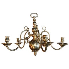 English Polished Brass Five-Arm Candle Chandelier, Early 19th Century