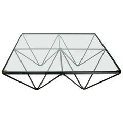 Italian Square Black Alanda Coffee Table by Paolo Piva for B&B Italia