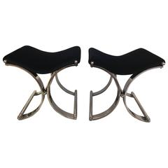 Pair of Modern Chrome Saddle Seat Benches