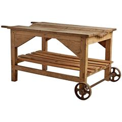 Primitive Bleached Oak Cheesemakers Cart, circa 1880s