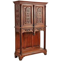 Ornately Carved Sideboard with Renaissance Revival Towers, circa 1930s