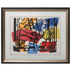 "Lithograph Print, After Fernand Leger, from ""the Construction Worker"" Series"