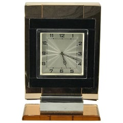"French Art Deco Chrome and ""Coral"" Mirrored Table Clock"