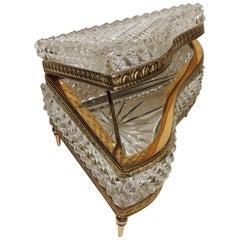 Beautiful French Cut Crystal Dore Gilt Bronze Ormolu-Mounted Piano Box Casket