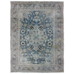Antique Persian Tabriz Carpet with Central Medallion, Palmettes and Cornices