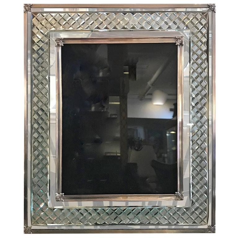 Large Sterling Silver and Cut-Glass Picture Frame at 1stdibs
