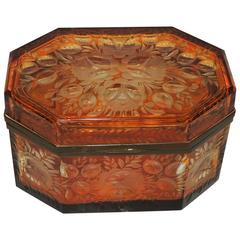 Beautiful Bohemian Bronze Amber Cut Crystal Etched Crystal Floral Box Casket