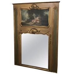 19th Century French Louis XV Painted and Gilded Trumeau, circa 1870