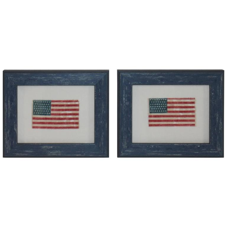 Pair of Framed Mini 46 Star Parade Flags For Sale at 1stdibs