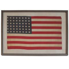 Custom Framed 48 Star Flag Sewn on Homespun Linen