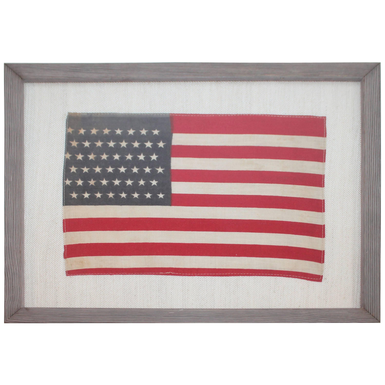 Framed 48 Star Flag Sewn on Linen