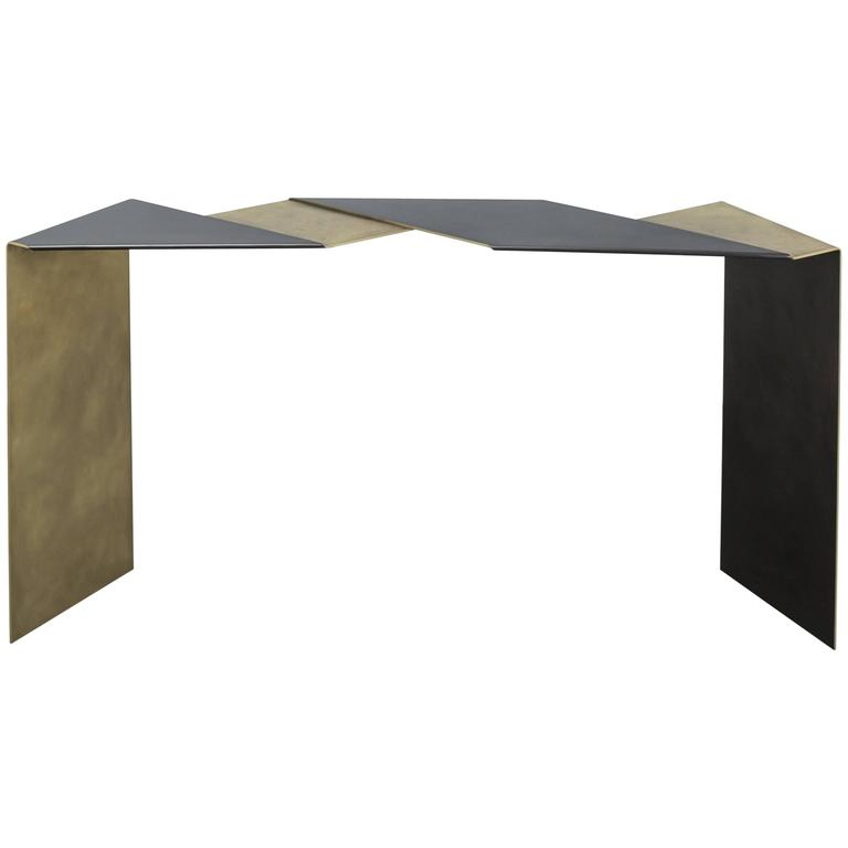 Fold Console by Uhuru Design in Patina Finish, Antiqued and Blackened Brass