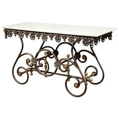 Polished Iron Butcher Pastry Table with Marble Top and Brass Mounts from France