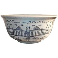 Large 19th Century Rustic Chinese Blue and White Glazed Bowl