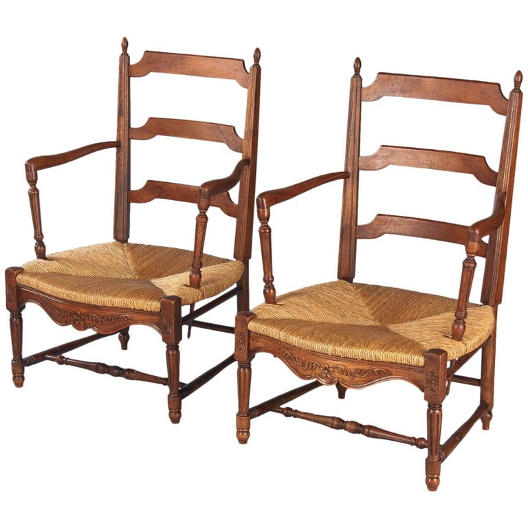 Pair of Louis XVI Style Provencal Rush Seat Armchairs, 1940s For Sale