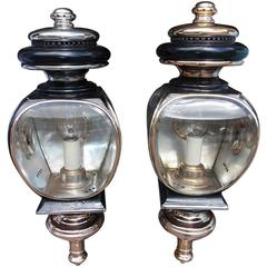 Pair of American Nickel Silver and Brass Coach Lanterns, New Haven, Circa 1860